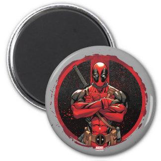 Deadpool in Paint Splatter Logo 2 Inch Round Magnet
