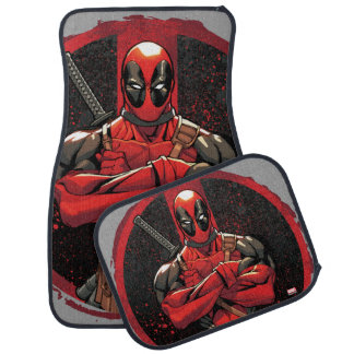 Deadpool in Paint Splatter Logo Car Floor Mat