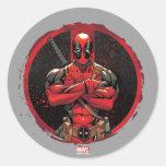 Deadpool in Paint Splatter Logo Classic Round Sticker