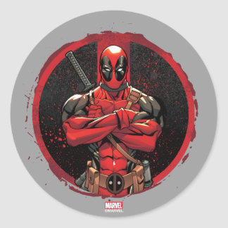 Deadpool in Paint Splatter Logo Classic Round Sticker