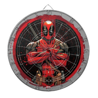 Deadpool in Paint Splatter Logo Dartboard With Darts