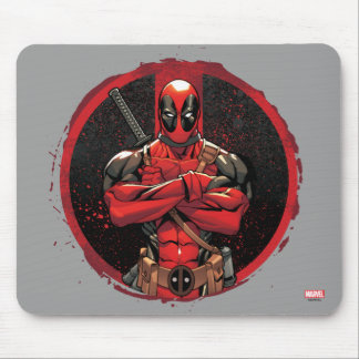 Deadpool in Paint Splatter Logo Mouse Pad