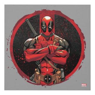 Deadpool in Paint Splatter Logo Panel Wall Art