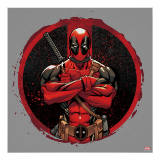 Deadpool in Paint Splatter Logo Poster