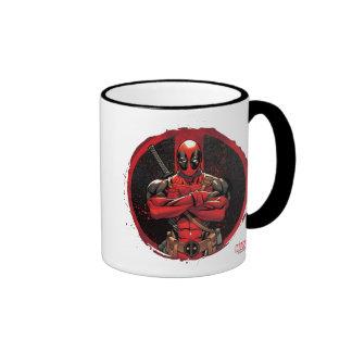 Deadpool in Paint Splatter Logo Ringer Mug