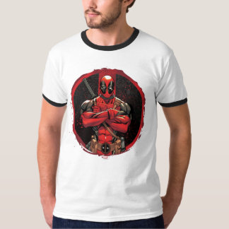 Deadpool in Paint Splatter Logo T-Shirt
