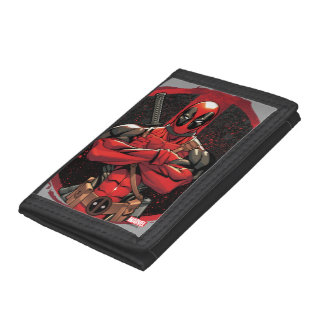 Deadpool in Paint Splatter Logo Tri-fold Wallets