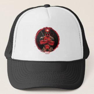 Deadpool in Paint Splatter Logo Trucker Hat