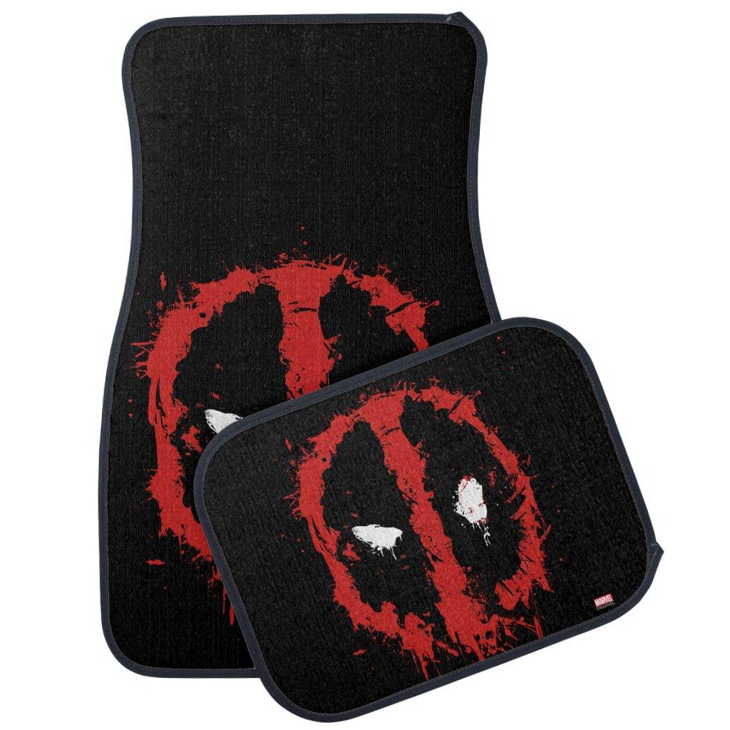 Deadpool Paint Splatter Logo Car Mat