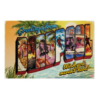 Deadpool Vacation Postcard Poster