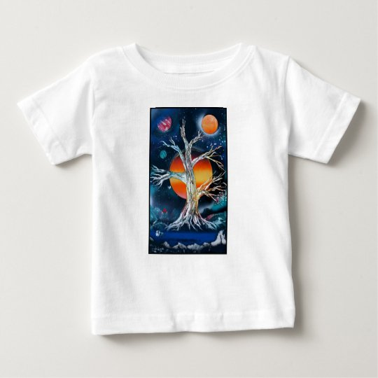 Deadwood Tree w lake moutains and red sun Baby T-Shirt