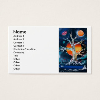 Deadwood Tree w lake moutains and red sun Business Card