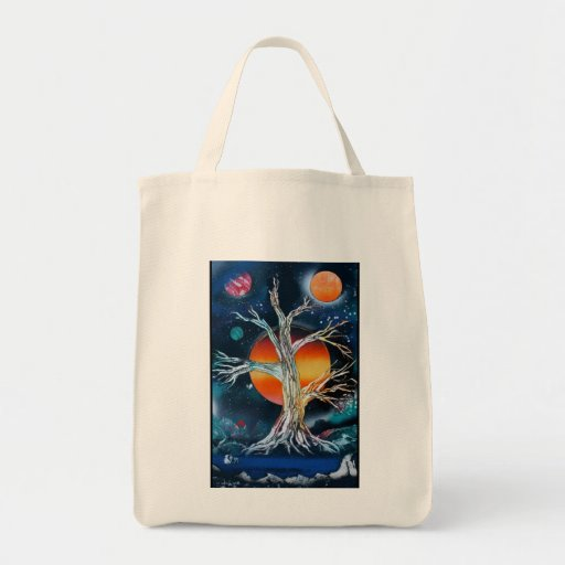 Deadwood Tree w lake moutains and red sun Tote Bag