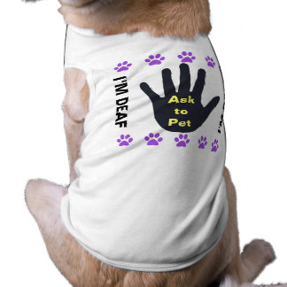Deaf Dog - Ask to Pet - Purple Paws Dog T-shirt