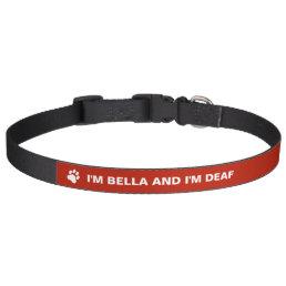 Deaf Dog Awareness With Custom Name Pet Collar