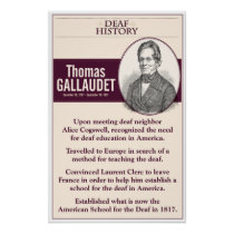 Deaf History. Thomas Gallaudet. Poster