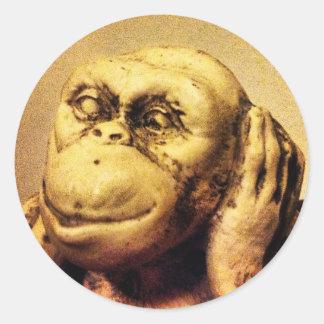 Deaf Monkey Classic Round Sticker