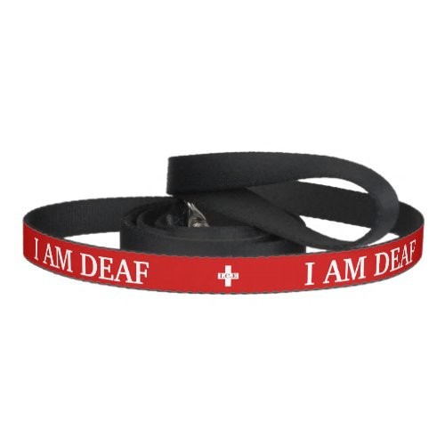 Deaf pet medic alert emergency contact details red pet leash