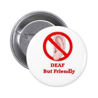 deaf sign pinback button