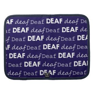 DEAF Typography Dark Blue White Words Pattern Organizers