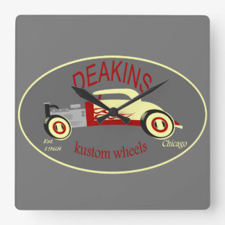 Deakins hot rod square wall clock