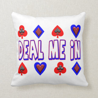 Deal Me In Playing Cards Throw Pillow