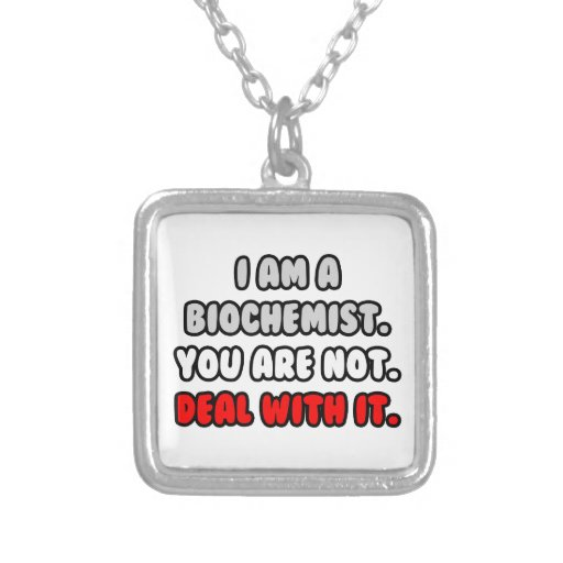 Deal With It ... Funny Biochemist Square Pendant Necklace