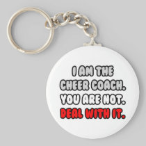 Deal With It ... Funny Cheer Coach Basic Round Button Keychain