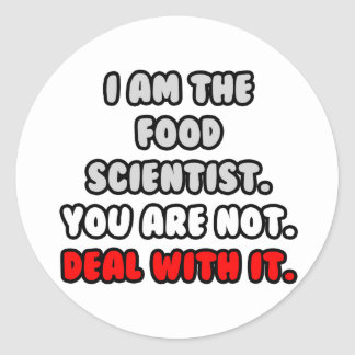 Deal With It ... Funny Food Scientist Classic Round Sticker