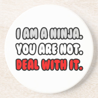 Deal With It ... Funny Ninja Beverage Coaster