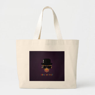Deal with it - pattern monkey with a pixel hat jumbo tote bag