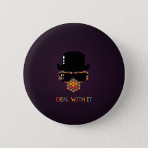 Deal with it - pattern monkey with a pixel hat pinback button