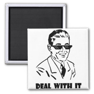 Deal With It Retro 2 Inch Square Magnet