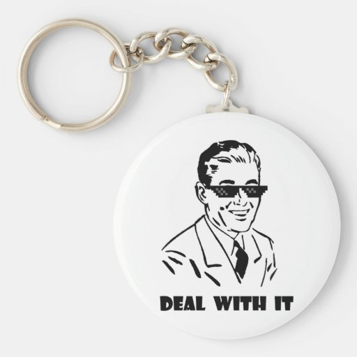 Deal With It Retro Basic Round Button Keychain