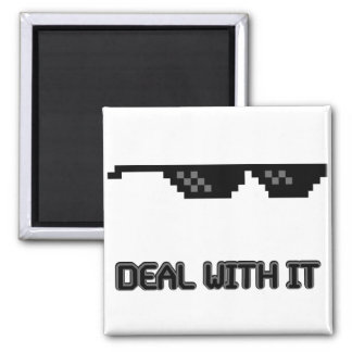 Deal With It Sunglasses 2 Inch Square Magnet