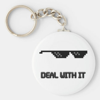 Deal With It Sunglasses Basic Round Button Keychain