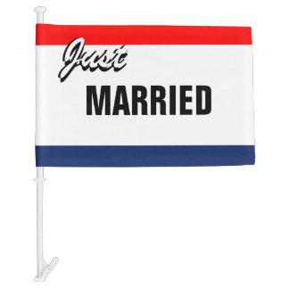 Dealership Style Just Married Signage Car Flag