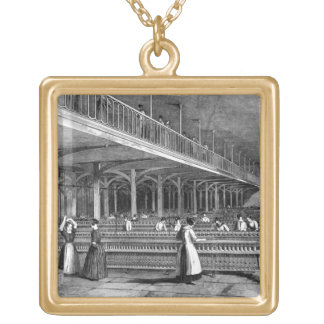 Dean Mills - The Doubling Room, 1851 (litho) Gold Plated Necklace