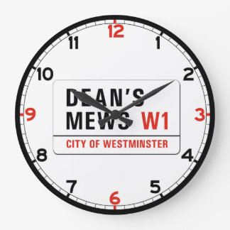 Dean's Mews, London Street Sign Large Clock