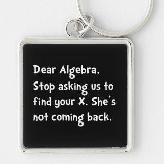 Dear Algebra Silver-Colored Square Keychain