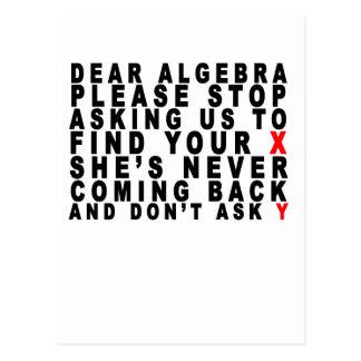 Dear Algebra T-shirts.png Postcard