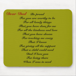 Dear dad father's day tribute mousepads