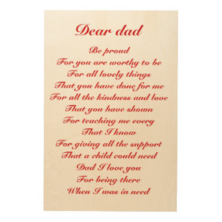 dear dad father's day tribute wood print