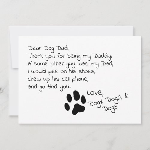 Dear Dog Dad Mom Customizable Pet Name Card
