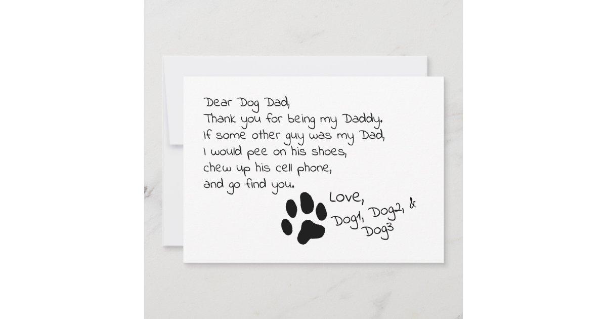 13417871 Dear Dog Dad Mom Customizable Pet Name Card | Zazzle.com