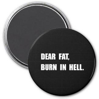 Dear Fat Burn Hell 3 Inch Round Magnet