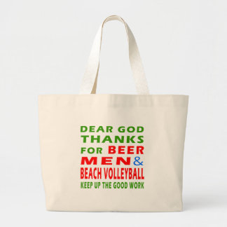 Dear God Thanks For Beer Men And Beach Volleyball Tote Bag