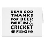 Dear God Thanks For Beer Men and Cricket Cards
