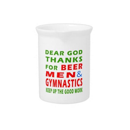 Dear God Thanks For Beer Men And Gymnastics Drink Pitchers