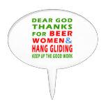 Dear God Thanks For Beer Men and Hang glide Cake Picks